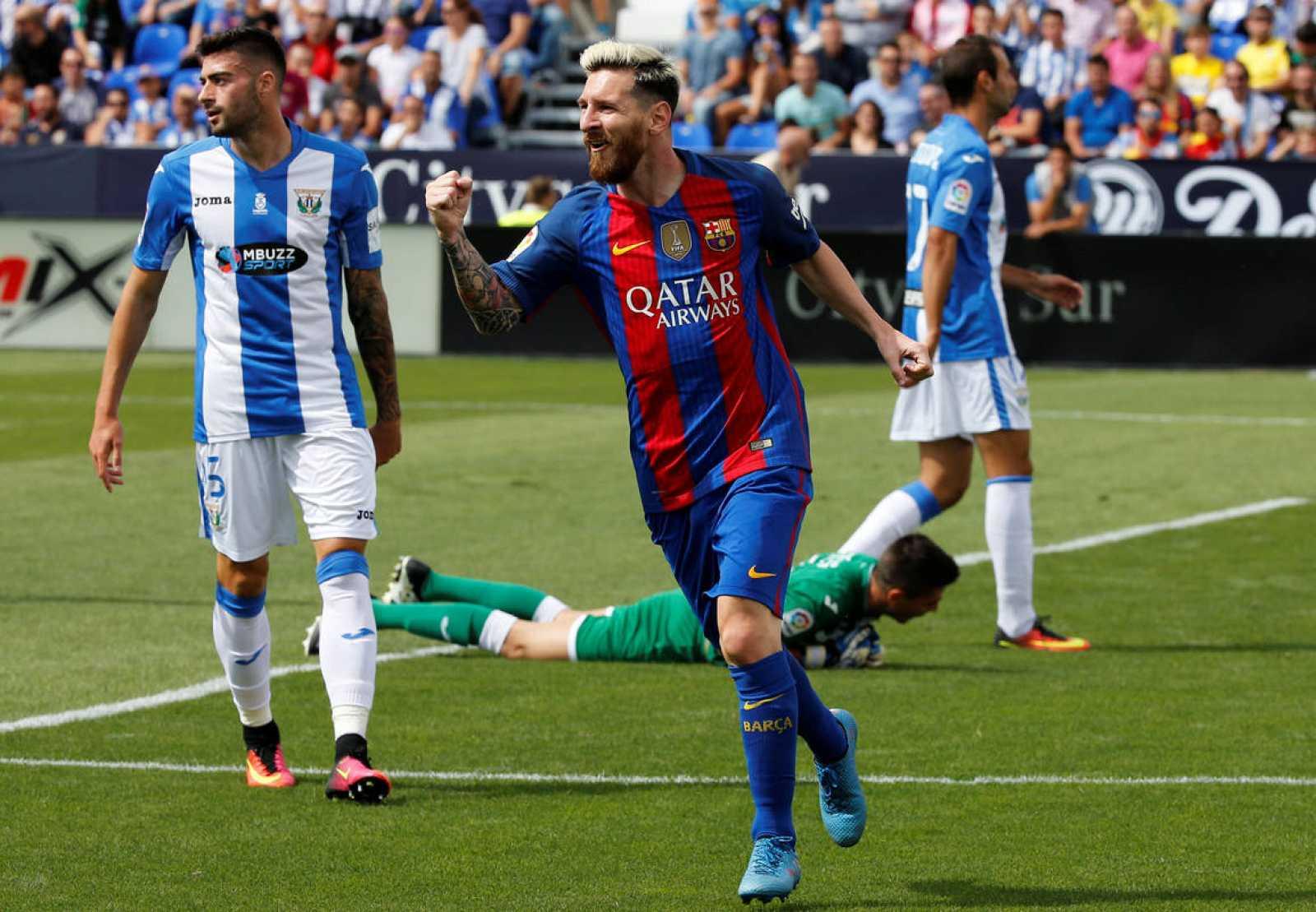 Messi celebra su primer tanto anotado ante el Leganés en el estadio de Butarque.