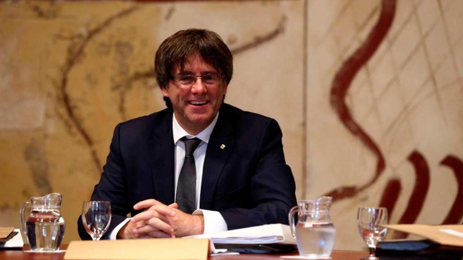 Carles Puigdemont, durante la reunión semanal del gobierno catalán
