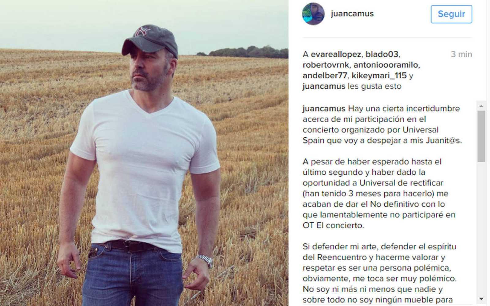 Juan Camus se queda fuera del concierto reencuento de OT del 31 de octubre