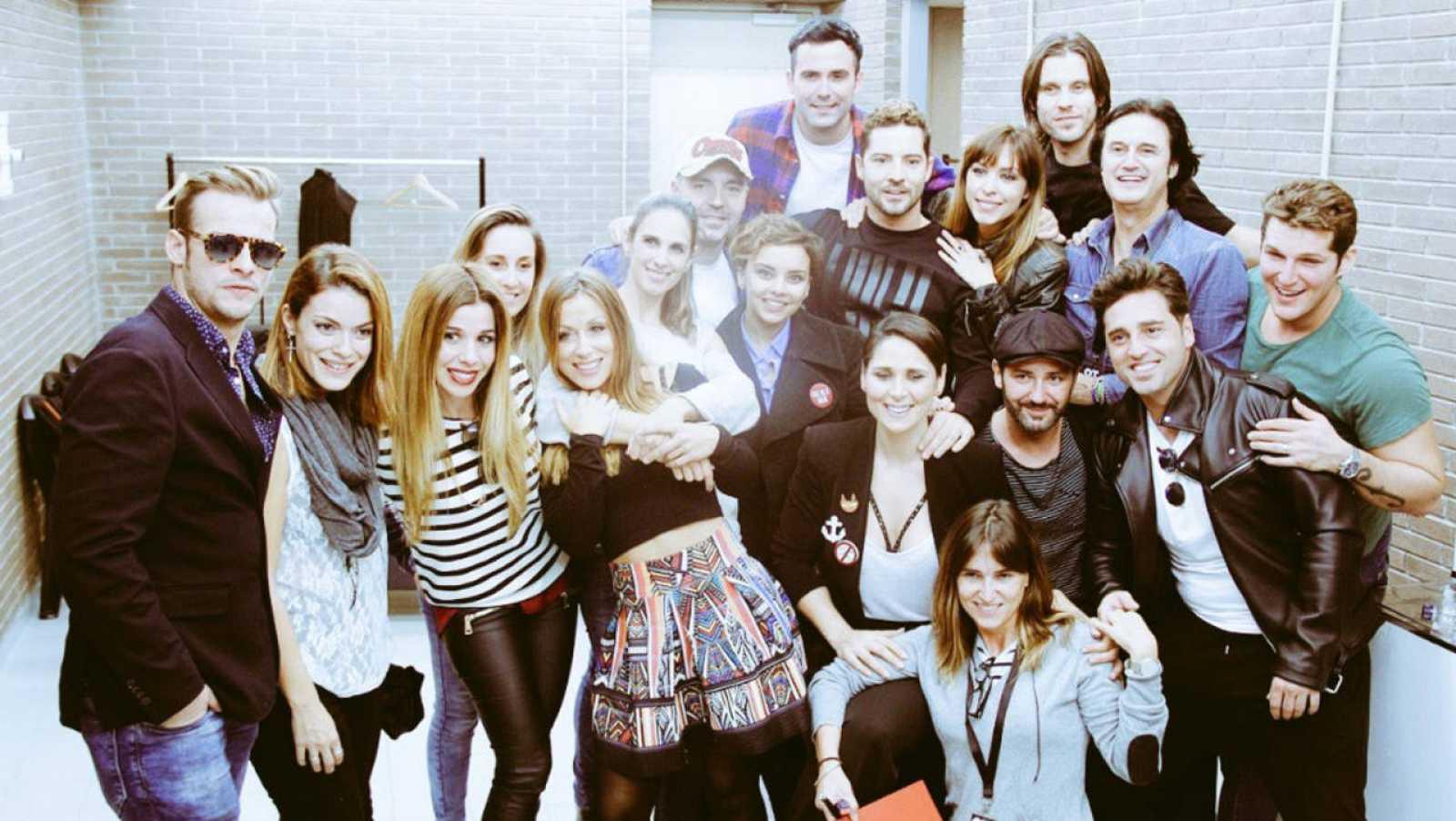 Los concursantes de OT1 antes de los ensayos para el concierto de Barcelona