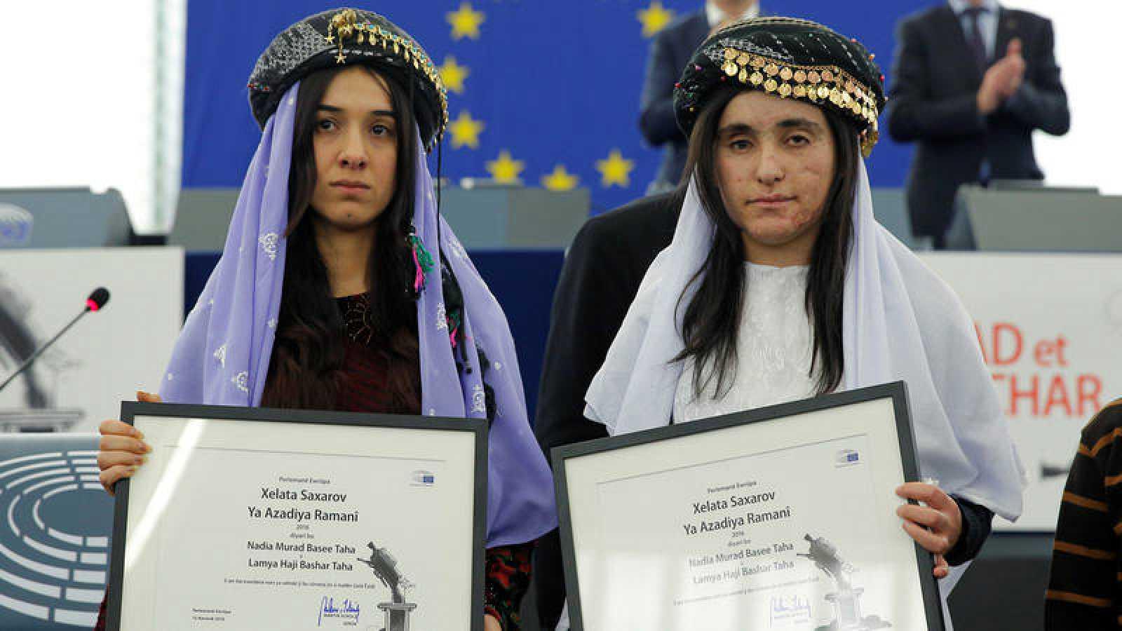 Las refugiadas yazidíes Nadia Murad y Lamiya Aji Bashar, ganadoras del Premio Sajarov 2016