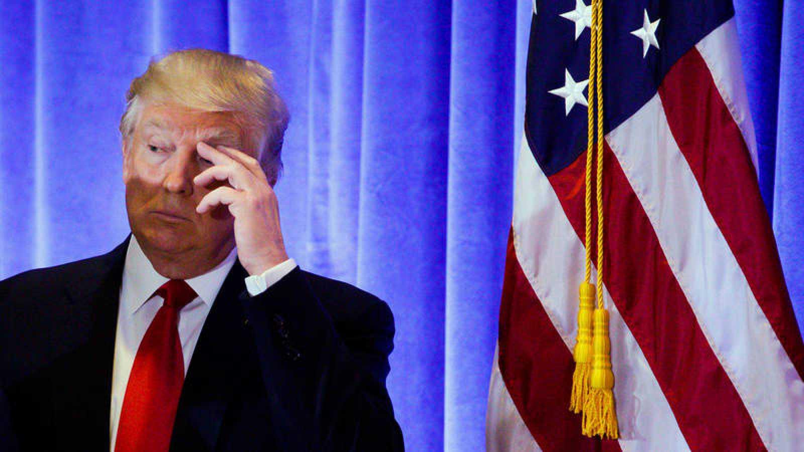 Donald Trump,durante una rueda de prensa en Nueva York.