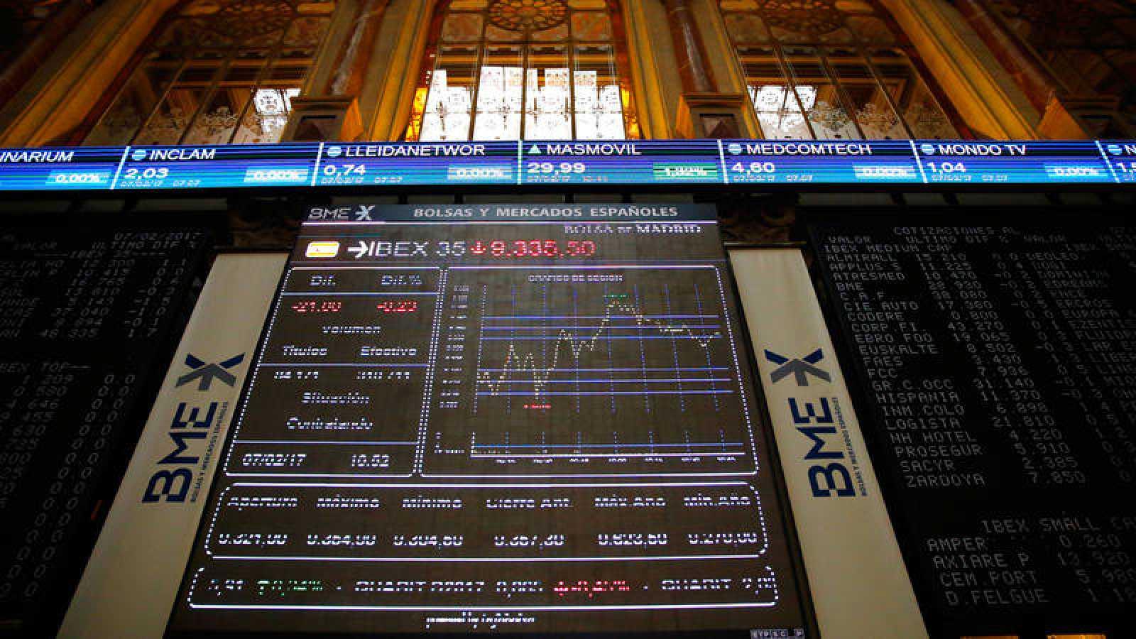 Pantalla con la evolución del Ibex 35 en la Bolsa de Madrid
