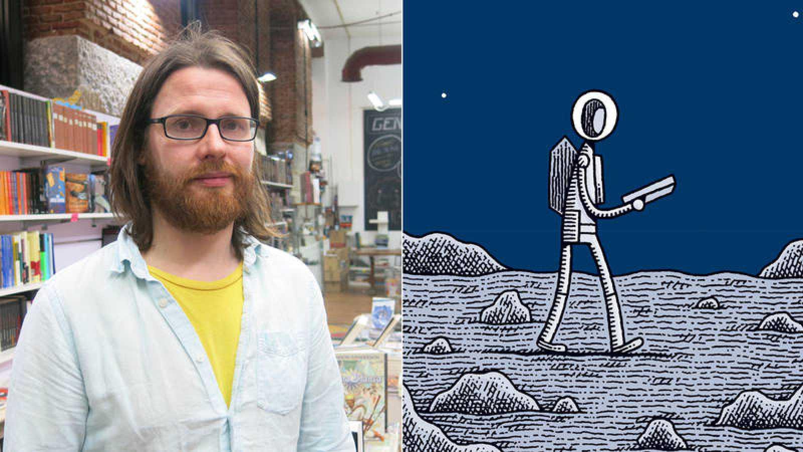 Tom Gauld y fragmento de la portada de 'Un policía en la luna'