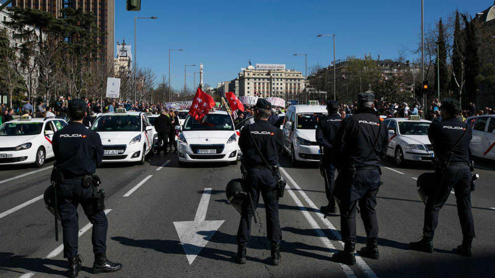 Imagen de archivo de una manifestación de taxistas en Madrid