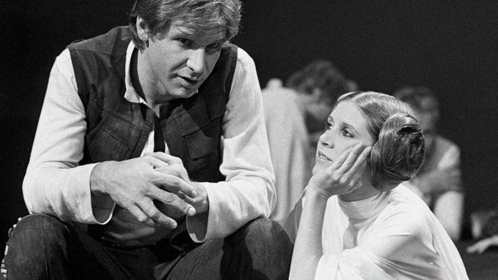 Carrie Fisher y Harrison Ford. AP Photo/George Brich