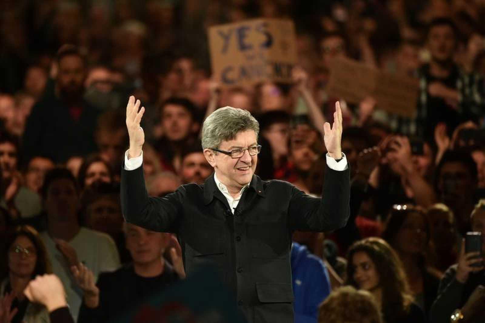 El candidato de La Francia Insumisa, Jean-Luc Mélenchon, en un mitin reciente
