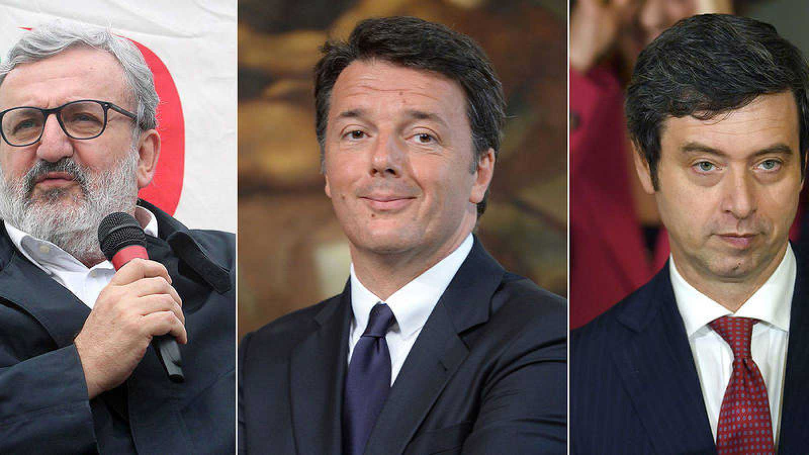 (De izda. a dcha.) Michele Emiliano, Matteo Renzi y Andrea Orlando