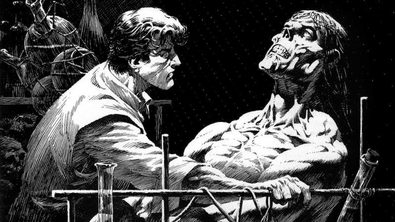 Fragmento de una ilustración de Wrightson par 'Frankenstein'