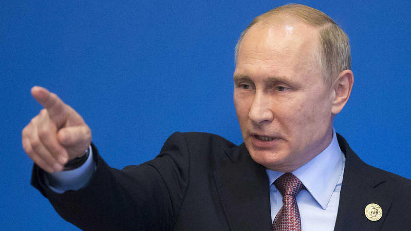 El presidente ruso, Vladimir Putin, durante el foro económico y comercial sobre la Nueva ruta de la Seda en Pekín (China).