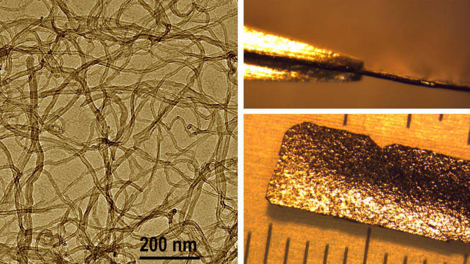 Material compuesto basado en el acetato de gadolinio y nanotubos de carbono. Derecha: vista a escala nanométrica a través de un microscopio electrónico de transmisión. Izquierda: vista de la lámina.