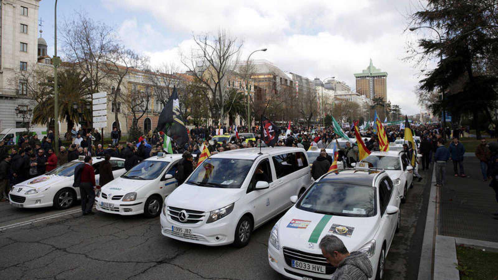 Imagen de archivo de una protesta de taxistas en Madrid