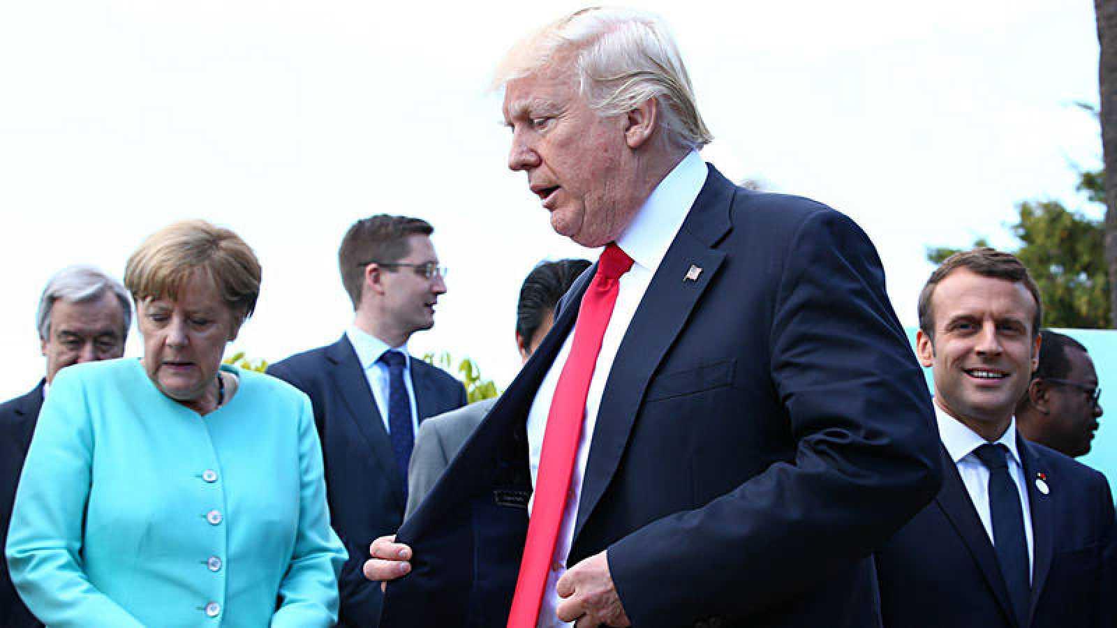 Merkel, Trump y Macron en la última cumbre del G7
