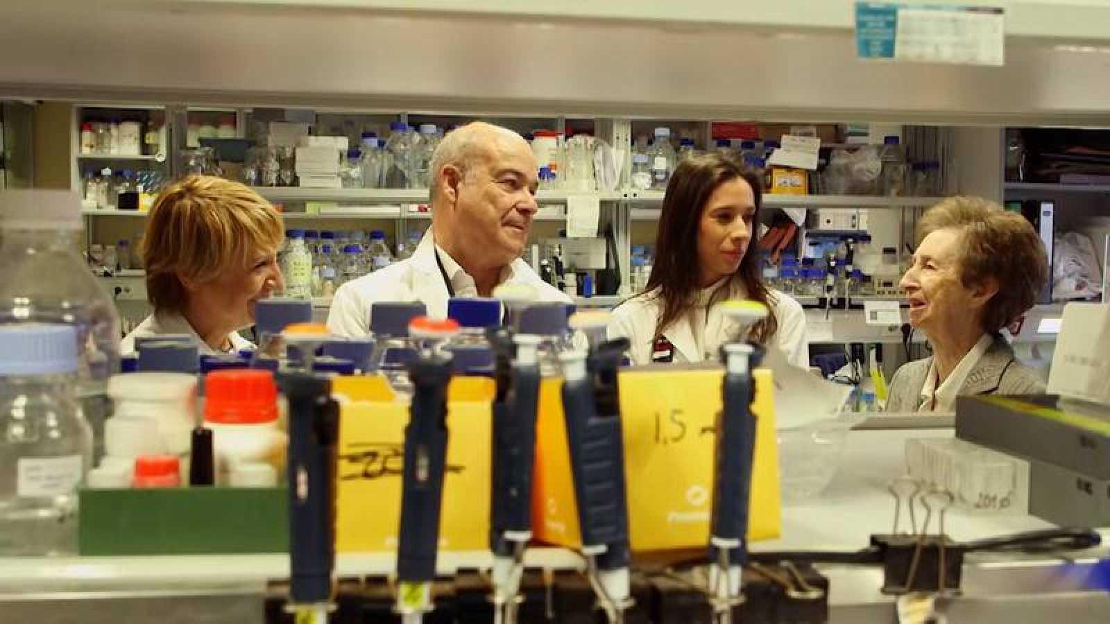 Antonio Resines y Blanca Portillo visitan el laboratorio de Margarita Salas en el Centro de Biología Molecular Severo Ochoa