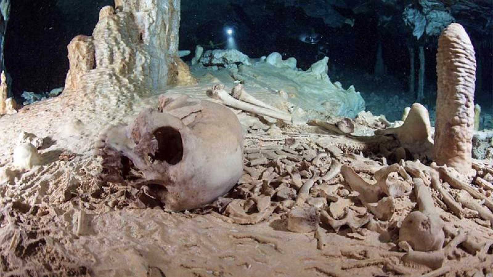 Restos óseos hallados en la cueva sumergida de Chan Hol.