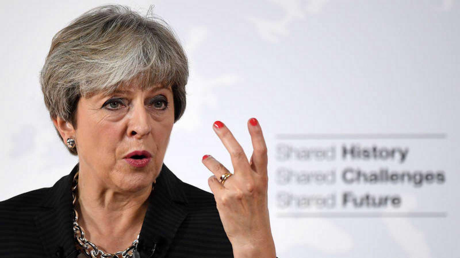 La primera ministra británica, Theresa May durante su discurso en Florencia