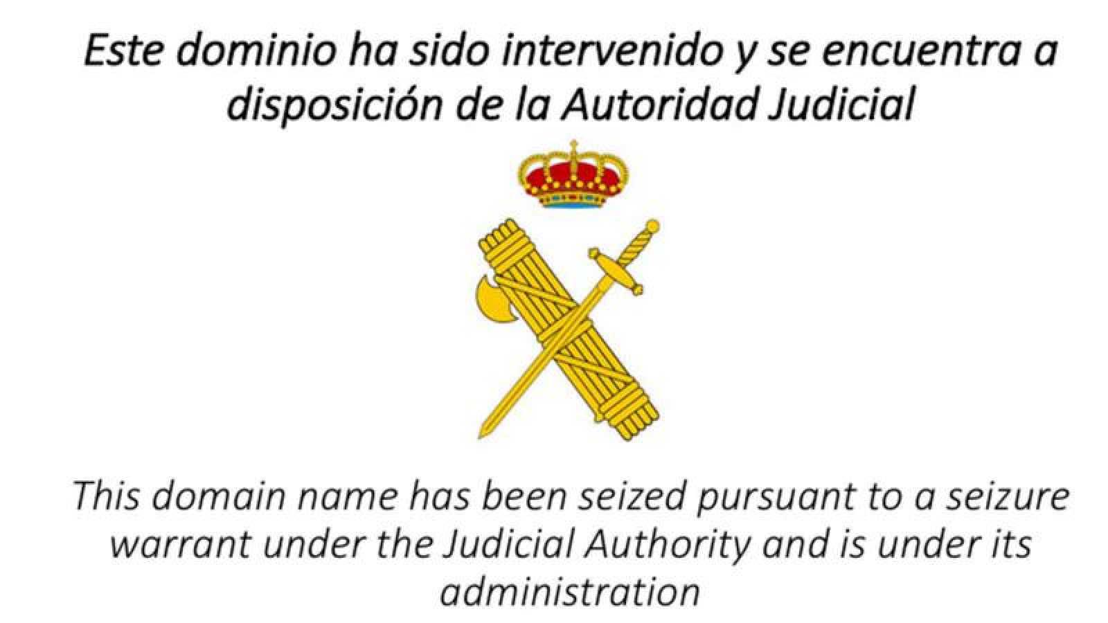 Mensaje que aparece en la página web de la ANC