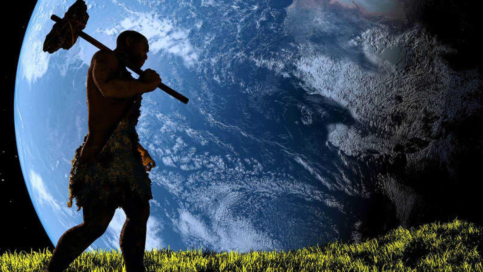 Recreación de un hombre prehistórico