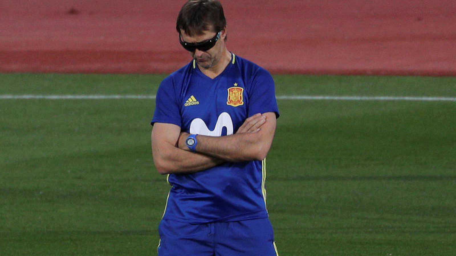 Julen Lopetegui, en el entrenamiento de la selección española.