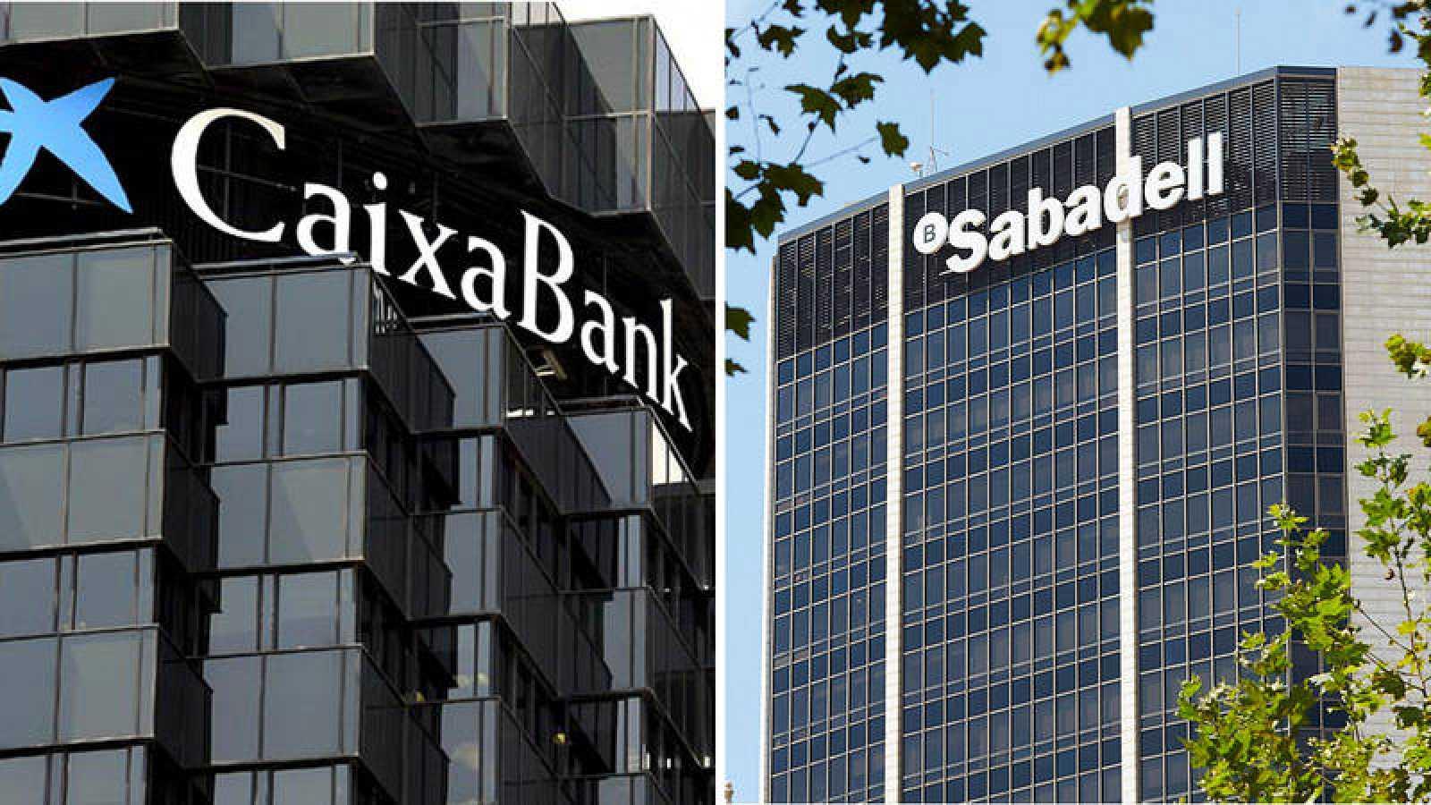 Sedes centrales en Cataluña de Caixabank y Banco Sabadell