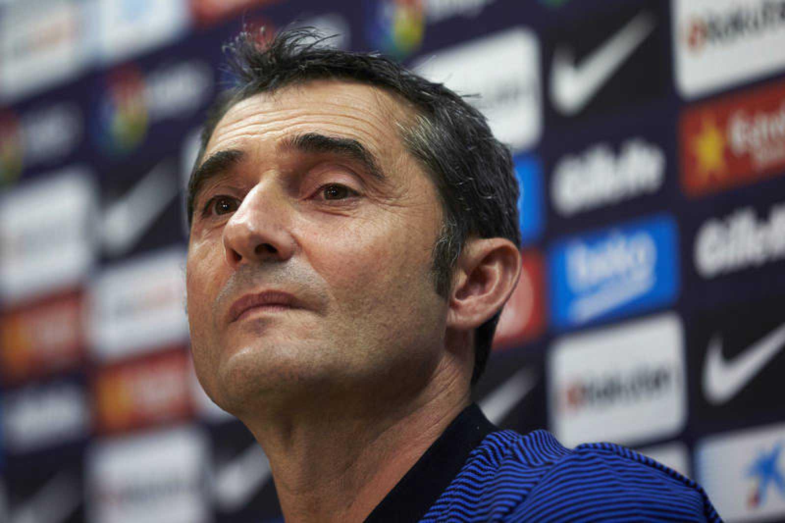 El entrenador del Barcelona, Ernesto Valverde, durante la rueda de prensa.