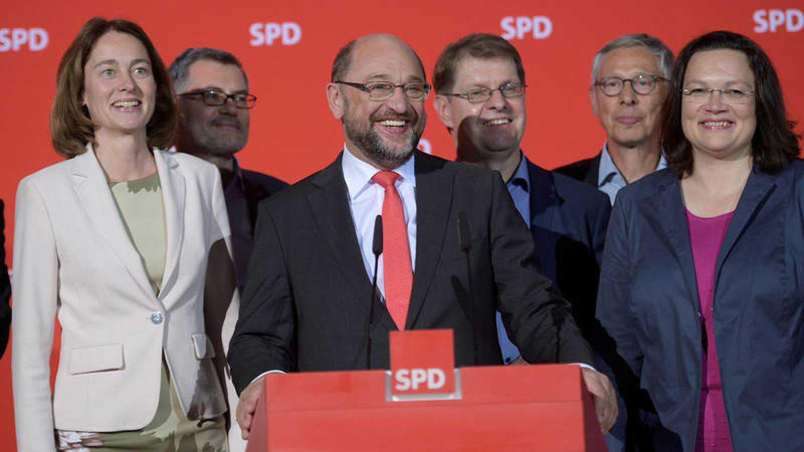 El líder del Partido Socialdemócrata alemán (SPD), Martin Schulz, reacciona a los resultados de su partido en las elecciones de Baja Sajonia