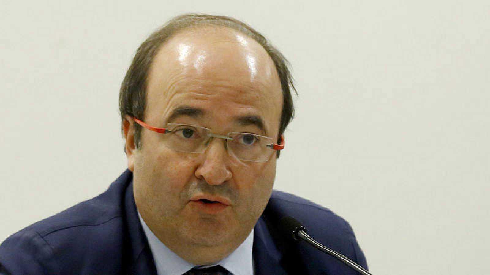 El primer secretario del PSC, Miquel Iceta, en el Club Siglo XXI en Madrid