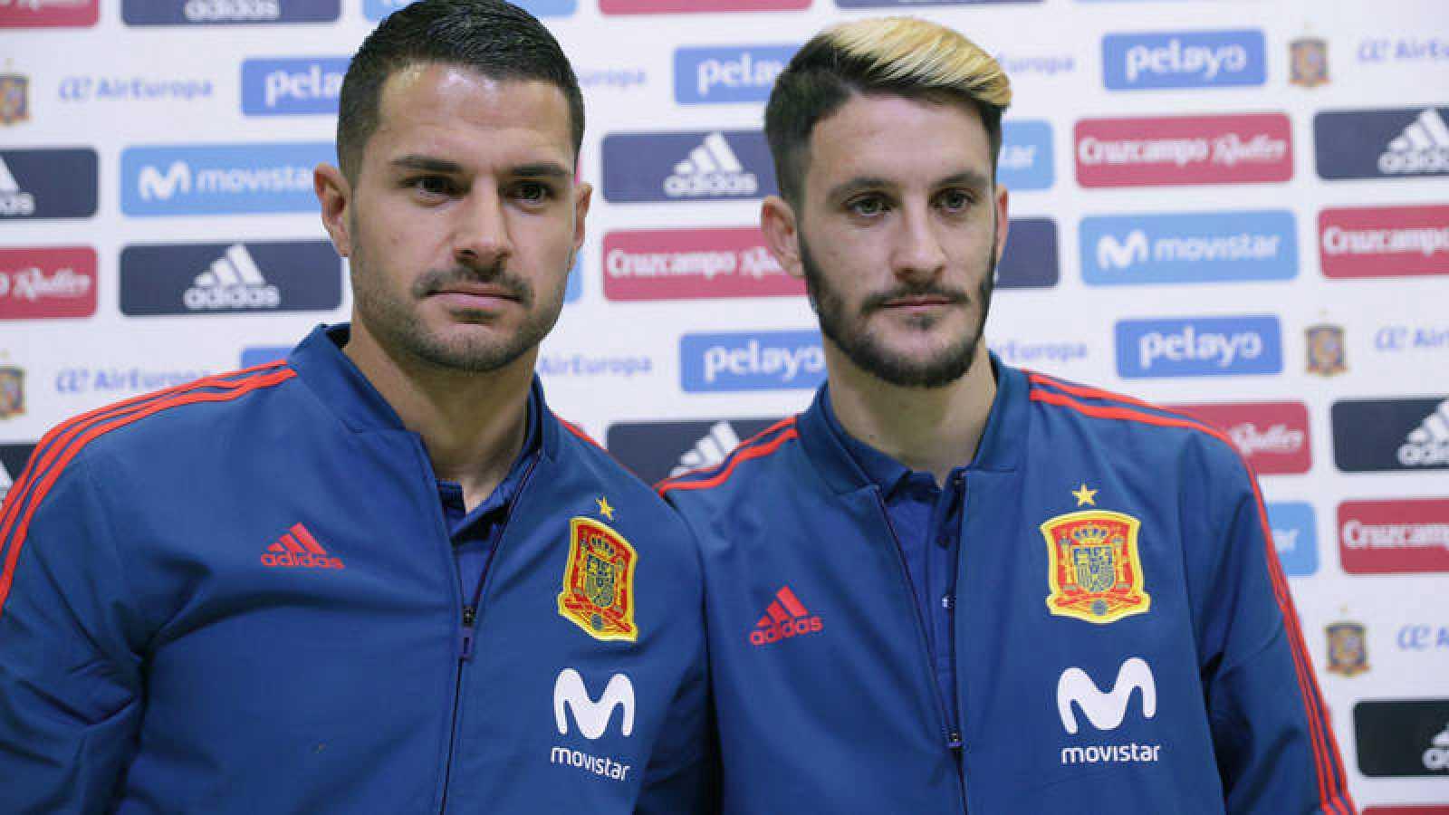 Vitolo y Luis Alberto, en la rueda de prensa de la selección.