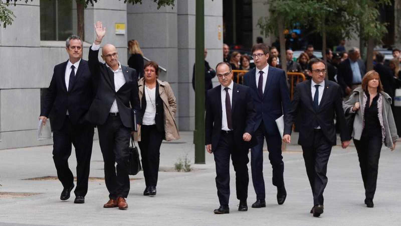 Los exmiembros del Govern, a su llegada a la sede de la Audiencia Nacional el pasado 2 de noviembre