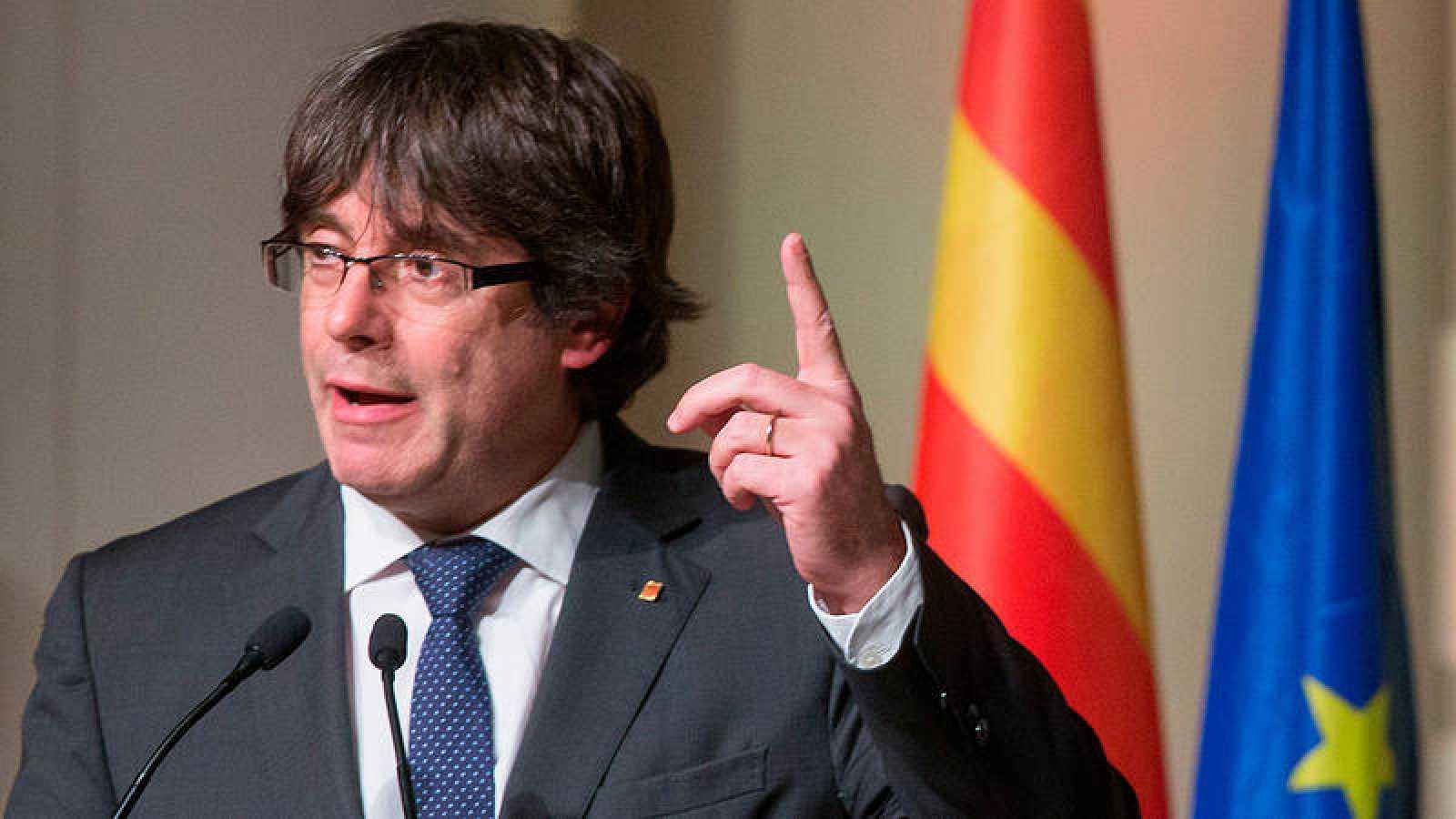 Carles Puigdemont, en el acto que organizaron en Bruselas dos centenares de alcaldes catalanes independentistas
