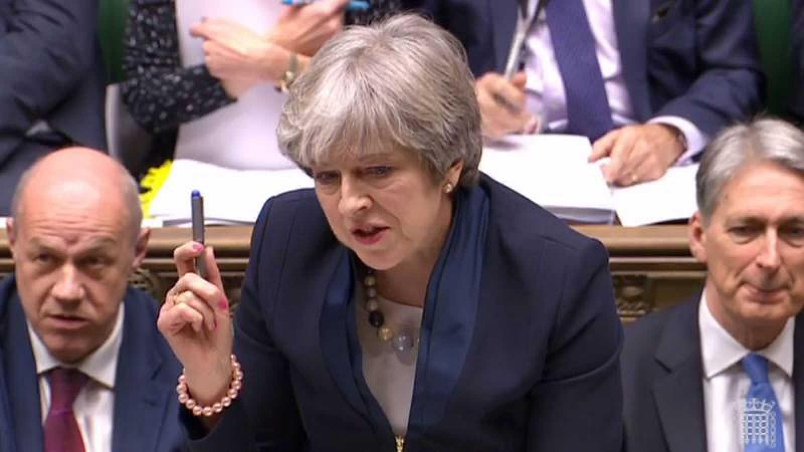 Theresa May, durante el debate sobre el 'Brexit' en el Parlamento británico