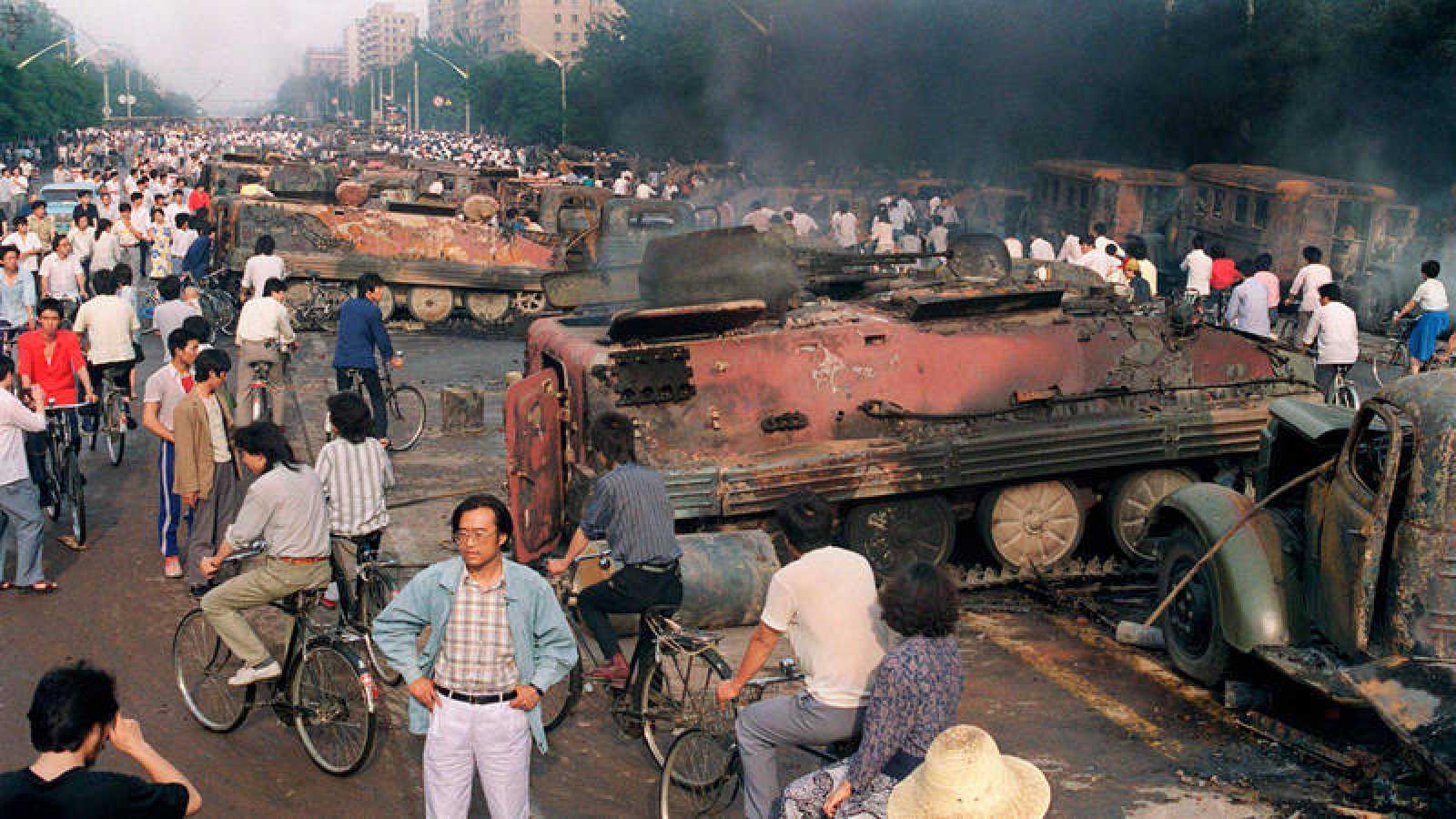 Imagen del 4 de junio de 1989 cerca de la Plaza de Tiananmen