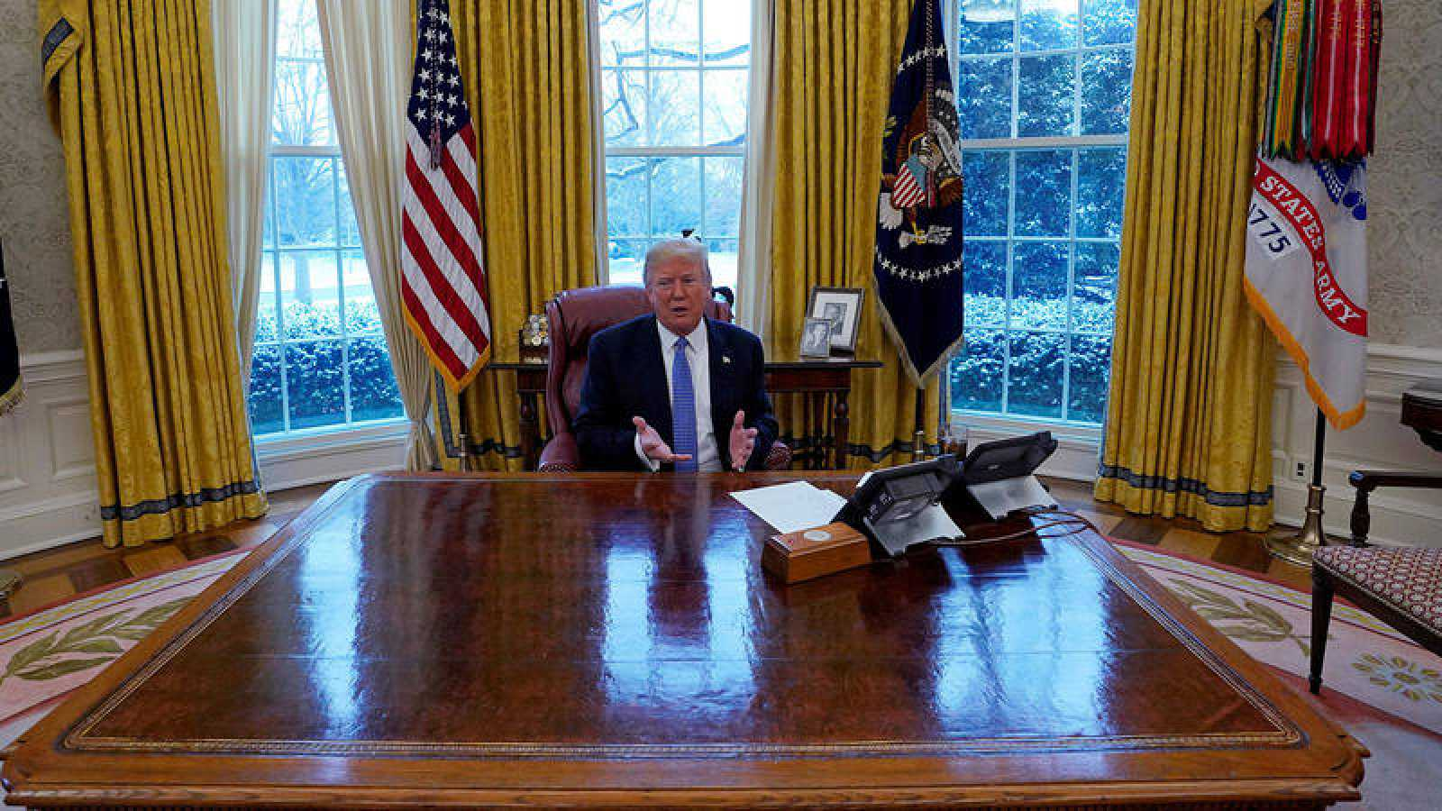 El presidente de los Estados Unidos, Donald Trump, en su despacho de la Casa Blanca