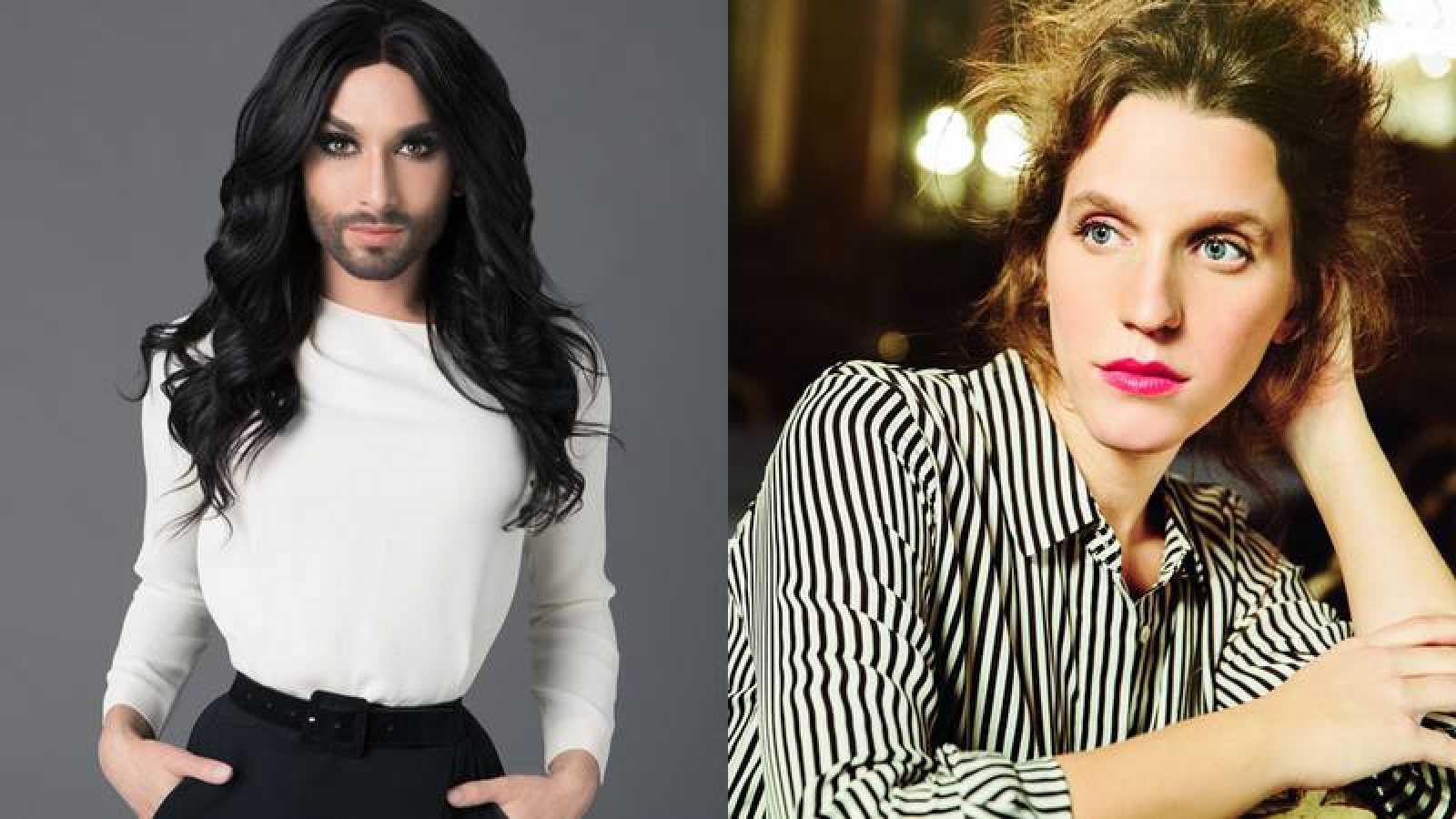 Conchita Wurst y Luisa Sobral en la Gala de Eurovisión de OT