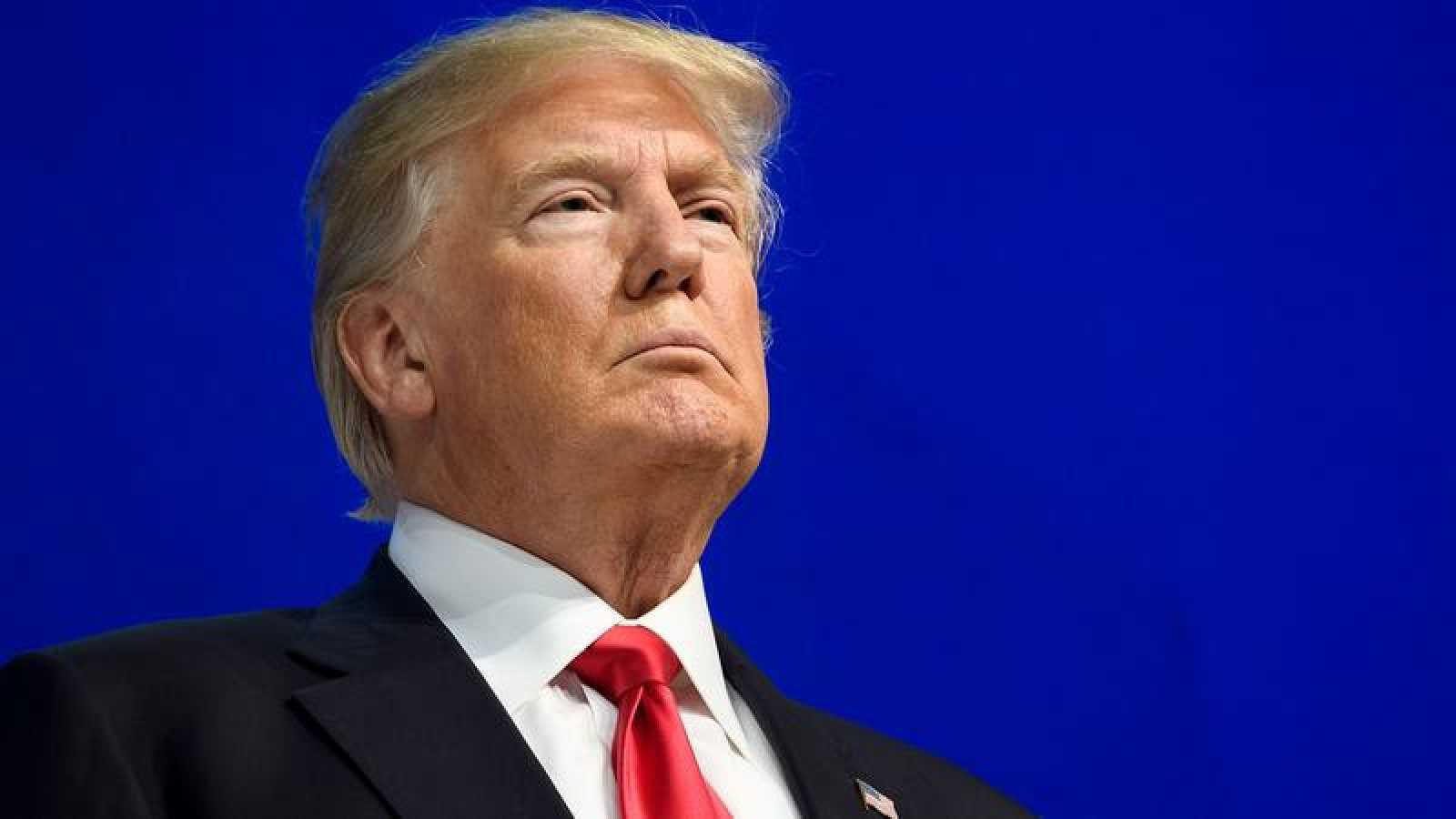 El presidente estadounidense, Donald Trump, antes de dar su discurso en Davos