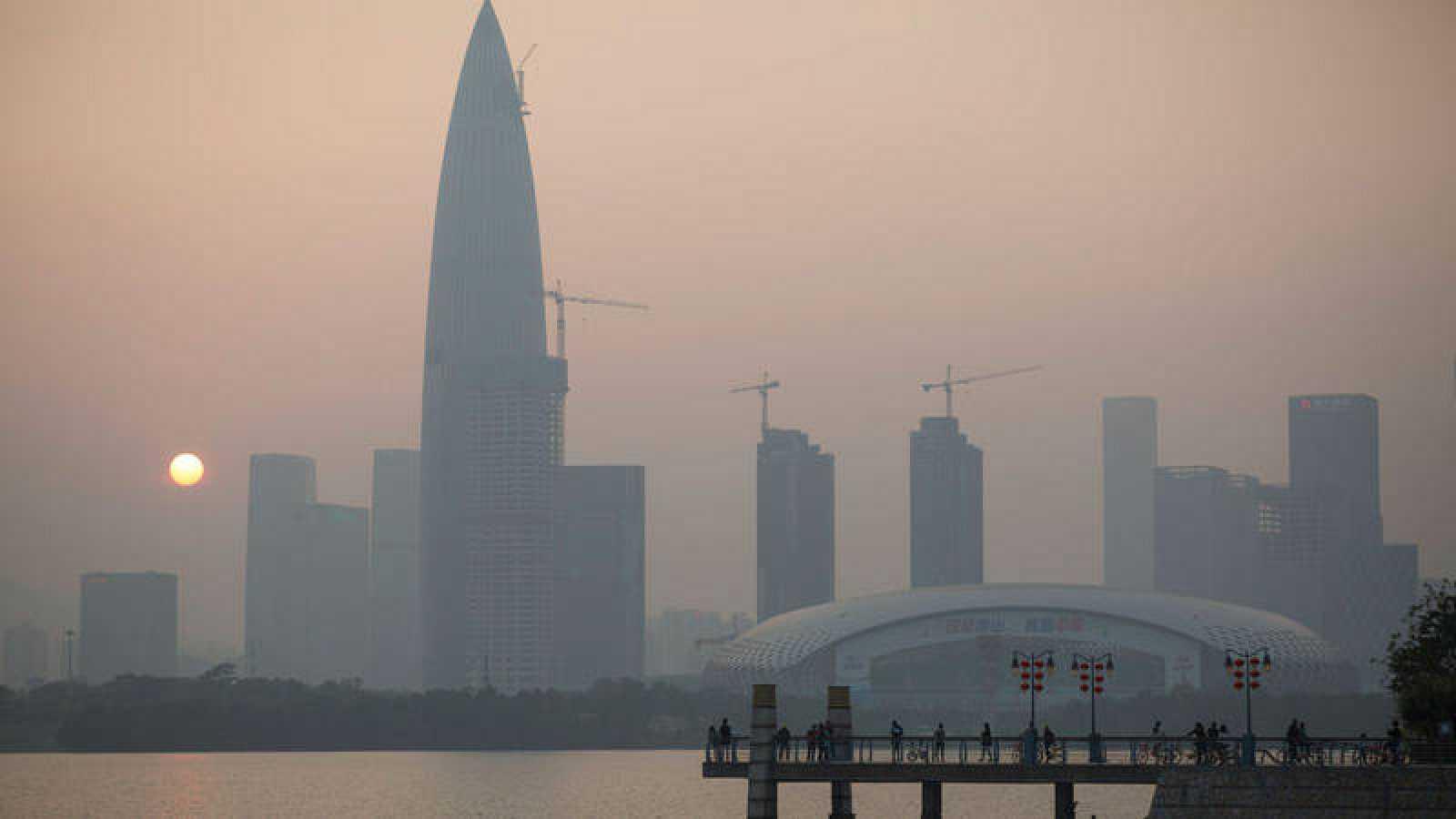 Edificios del barrio de negocios de la ciudad china de Shenzhen