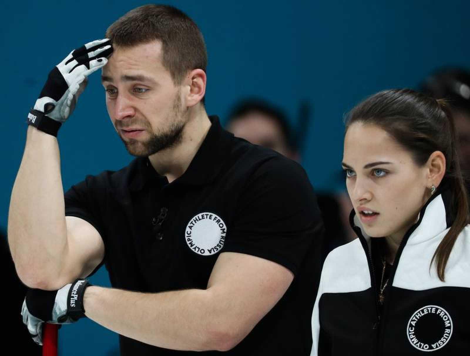 Imagen del matrimonio ruso Anastasia Bryzgalova y Alexander Krushelnitskiy durante los JJ.OO. de PyeongChang 2018.