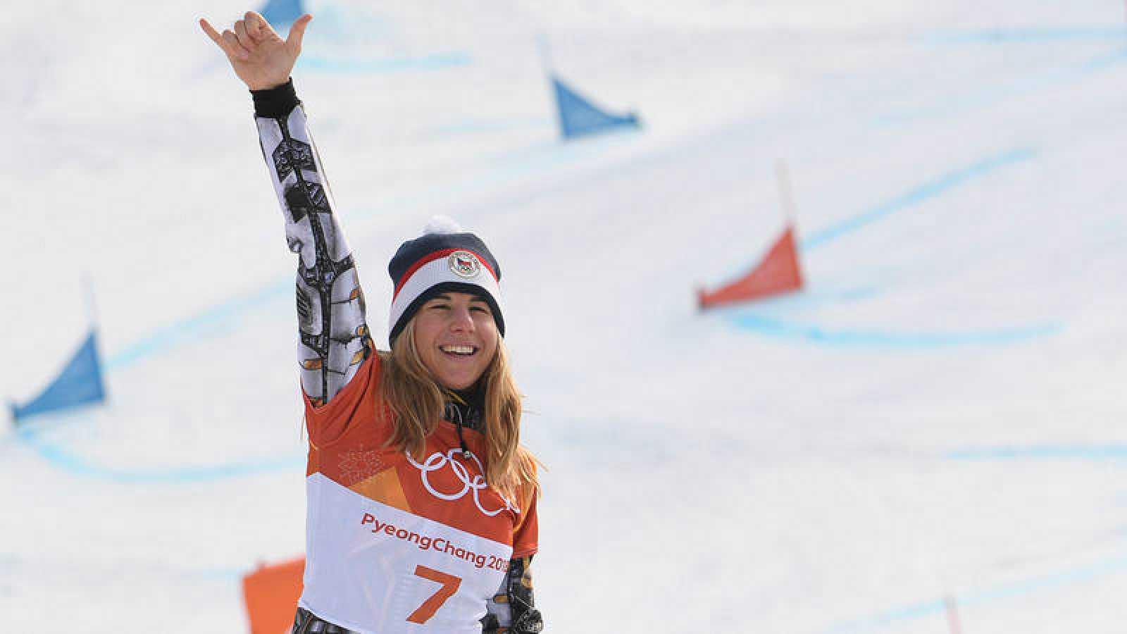 Ester Ledecka, tras ganar su segundo oro en los Juegos Olímpicos de Pyeongchang