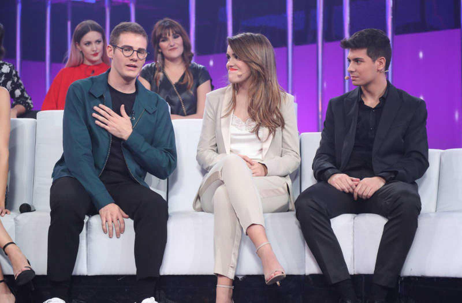 Raúl Gómez con Amaia y Alfred en la gala de Eurovisión de OT