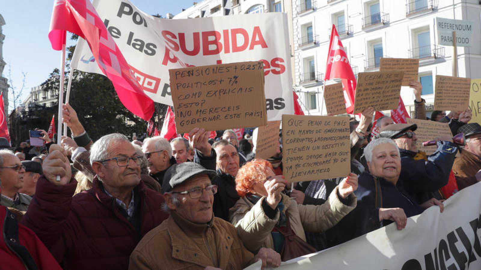 Manifestación de pensionistas en una imagen de archivo