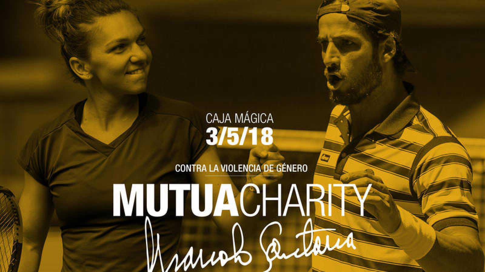 Logo del torneo benéfico Mutua Charity Manolo Santana, con Feliciano López y Simona Halep.