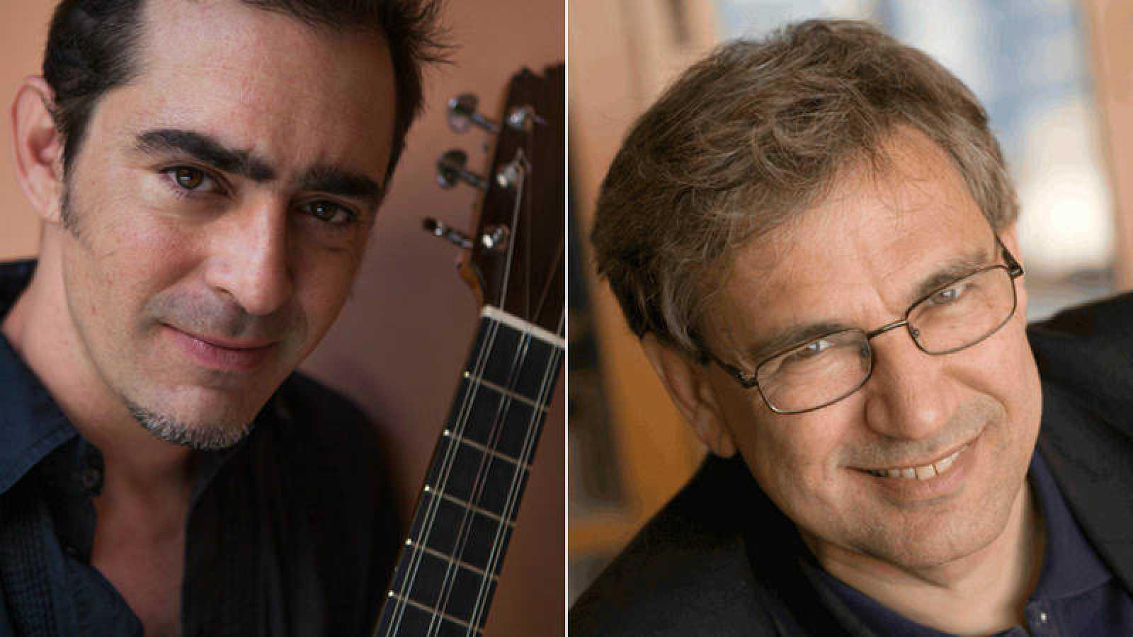 Raúl Rodríguez (foto: Óscar Romero) y Orhan Pamuk (foto: Murat Türemis)