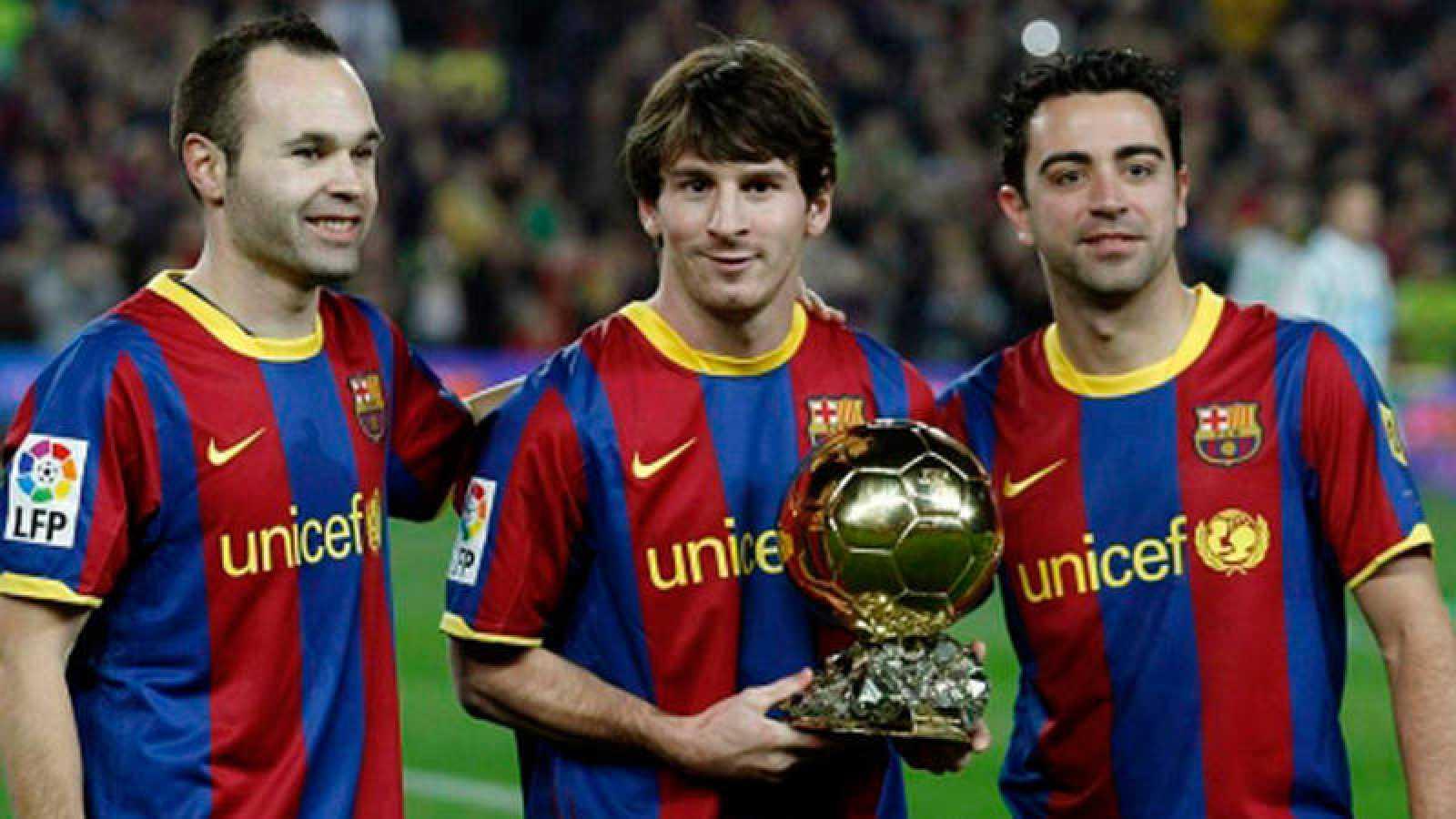 Iniesta, Messi y Xavi