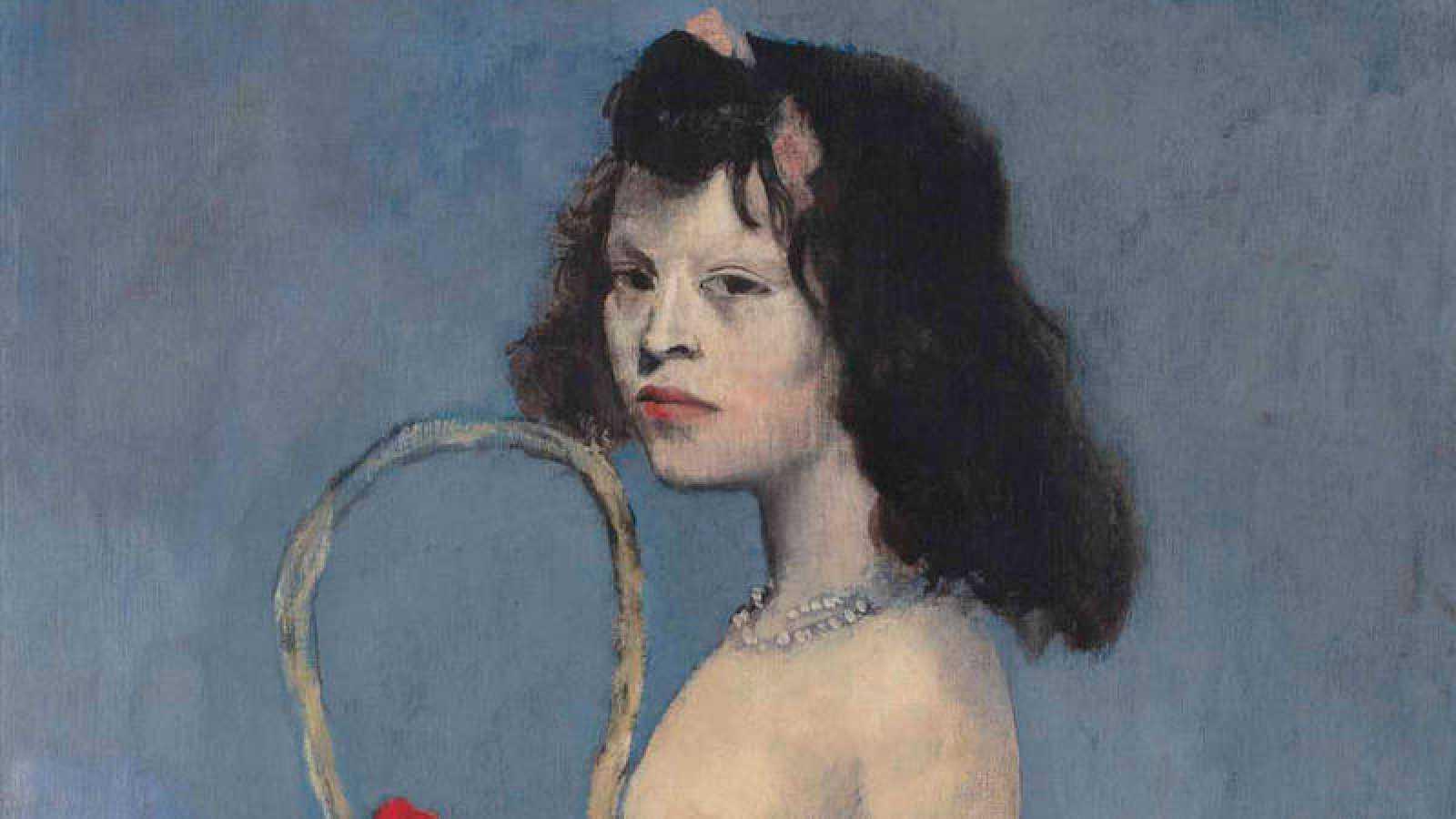 Detalle de 'Muchacha con una canastilla de flores' de Pablo Picasso