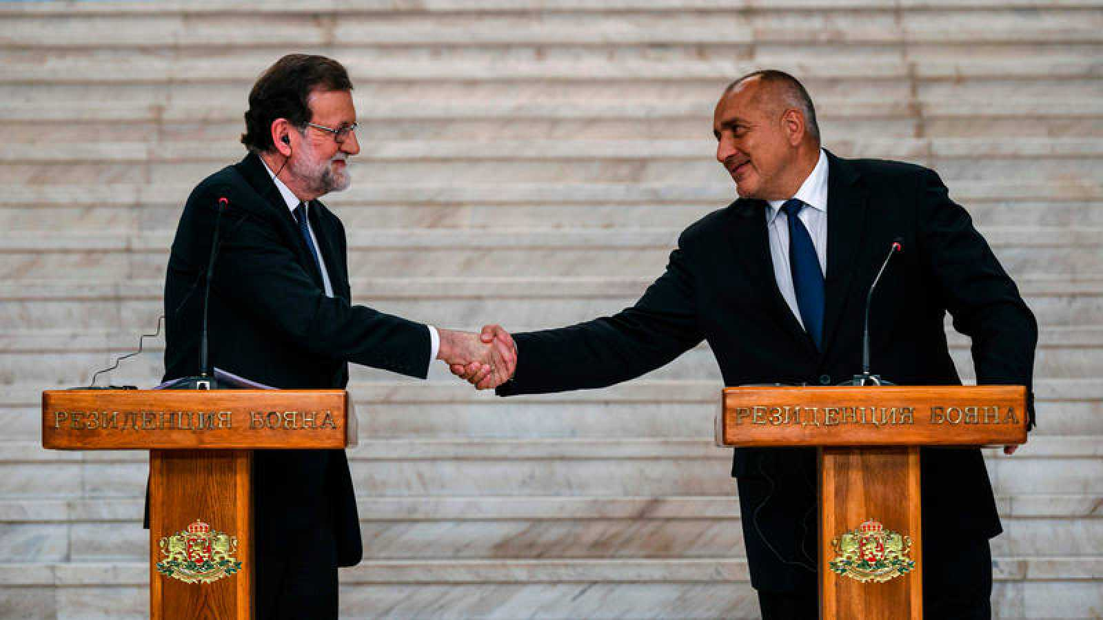 El presidente del Gobierno español, Mariano Rajoy, en la rueda de prensa conjunta ofrecida con su homólogo búlgaro, Boiko Borisov