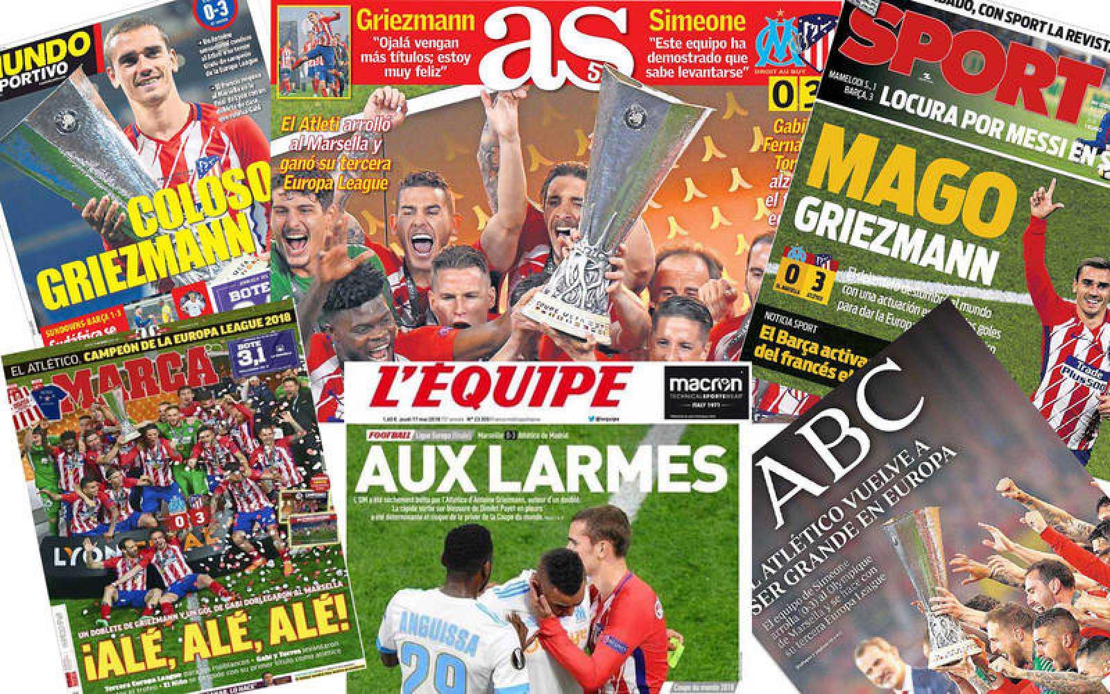 Mosaico de las portadas dedicadas al triunfo del Atlético de Madrid en Lyon.