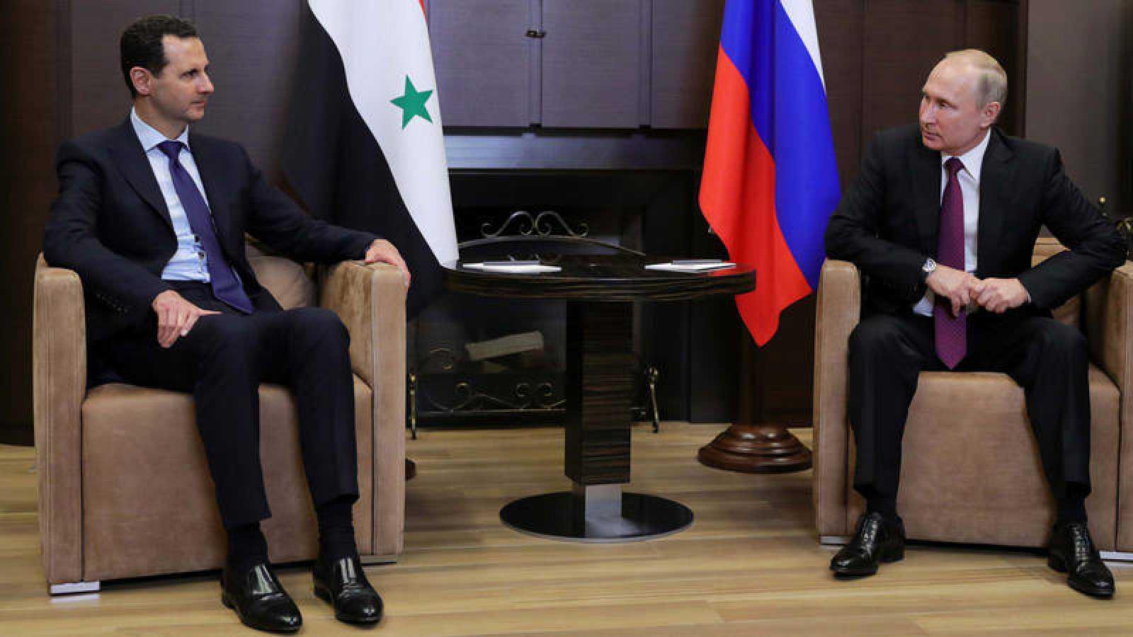 El presidente ruso, Vladimir Puitin, y su homologo de Siria, Bashar Al Asad durante su encuentro en Sochi