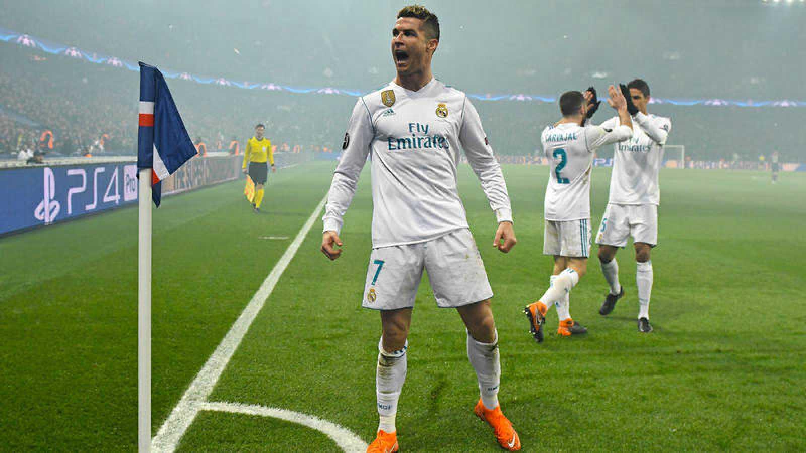 Cristiano Ronaldo, tras marcar al PSG en París, en octavos de final de la Champions.