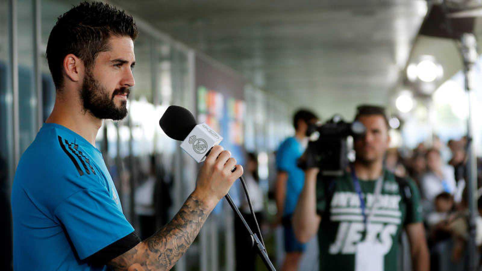 Isco, en el Open Media Day previo a la final de la Liga de Campeones.