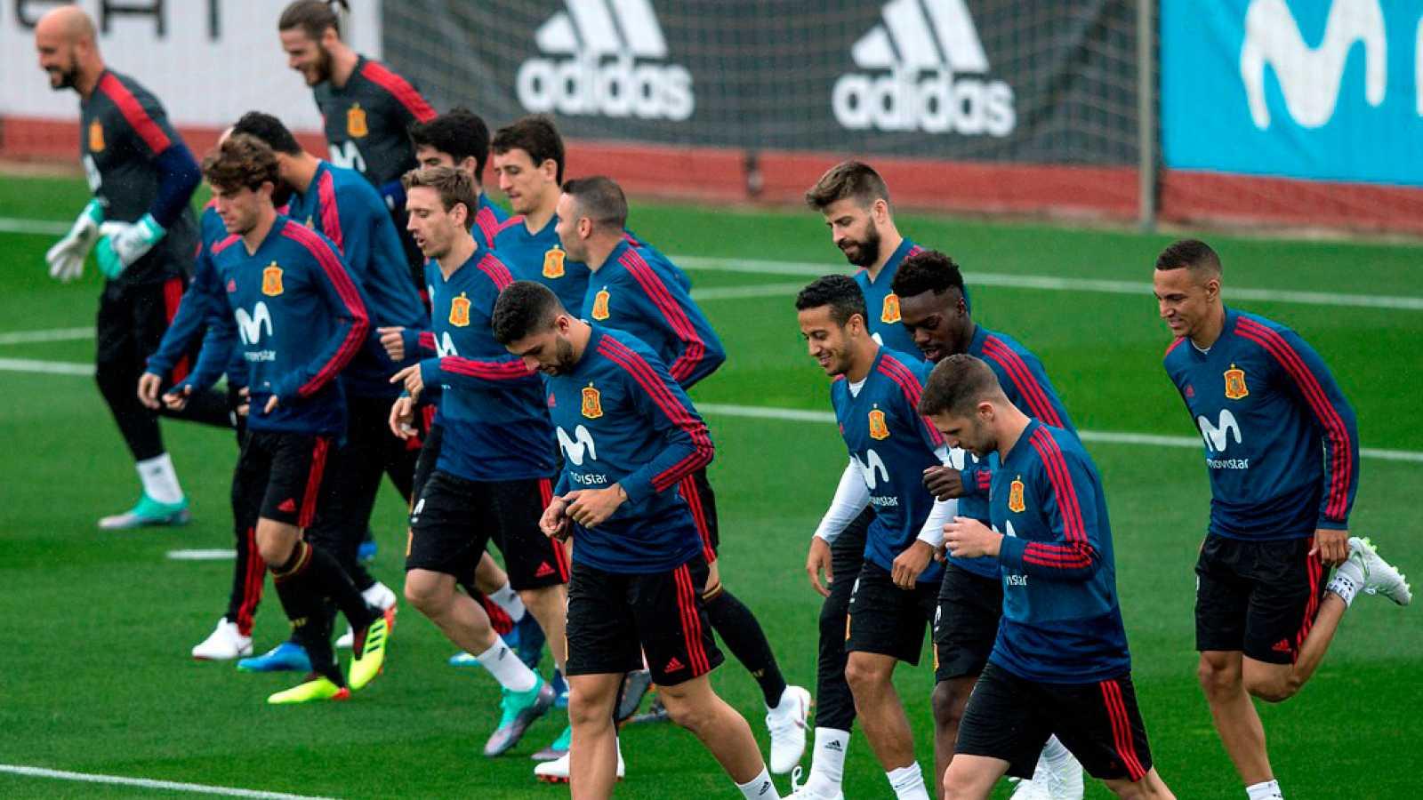 Imagen del primer entrenamiento de la selección española en Las Rozas, previo al Mundial.